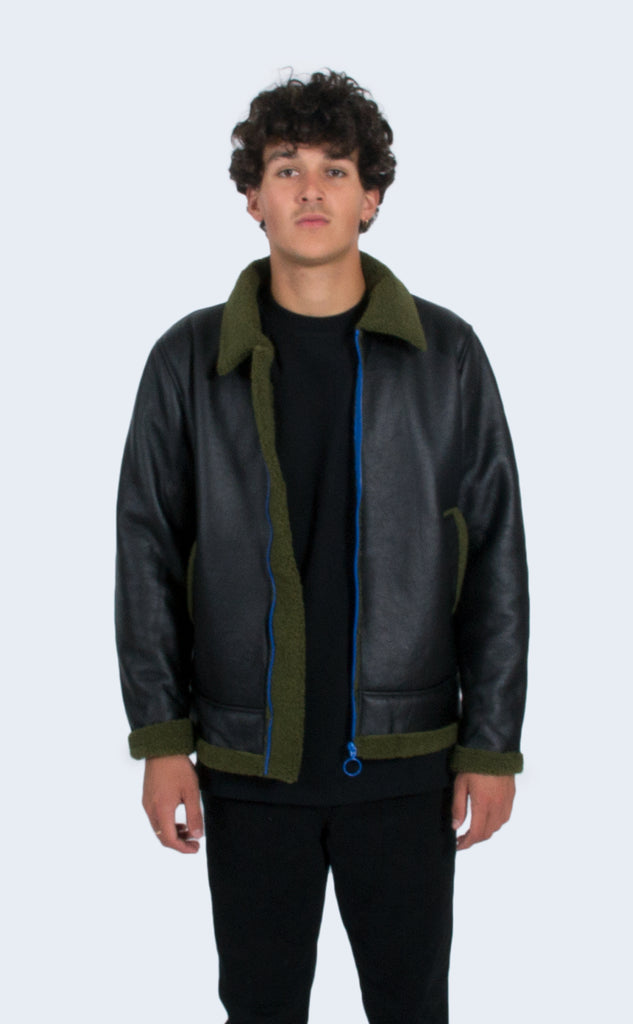 Faux Shearling Jacket Black