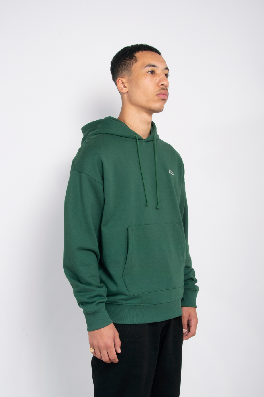 Embroidered Fleece Hoodie Green Forest