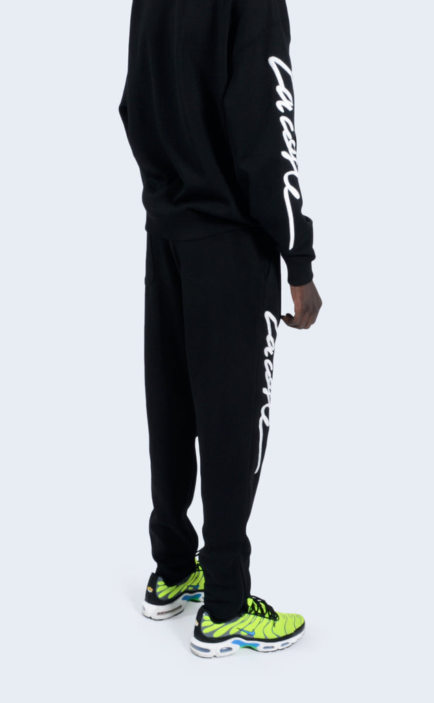 Embroidered Fleece Pant Black