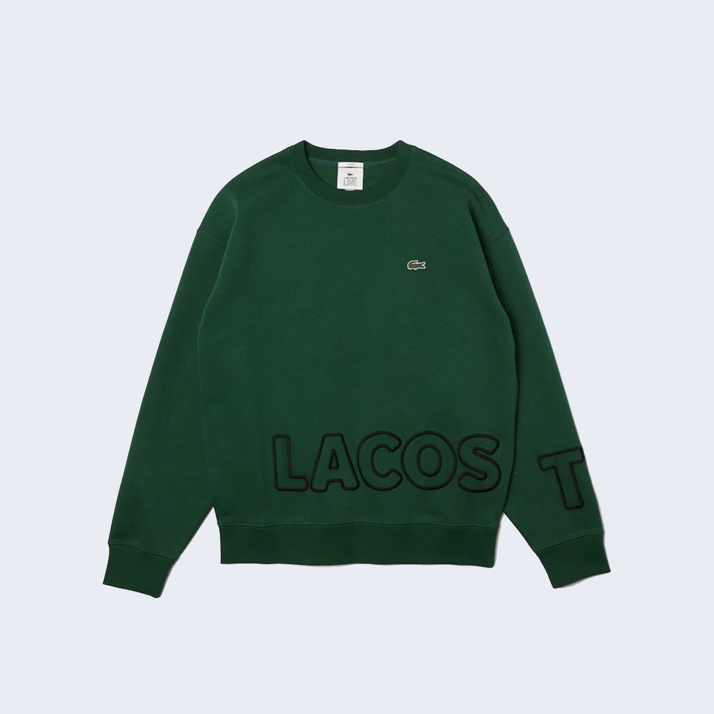Embroidered Fleece Crewneck Green Forest
