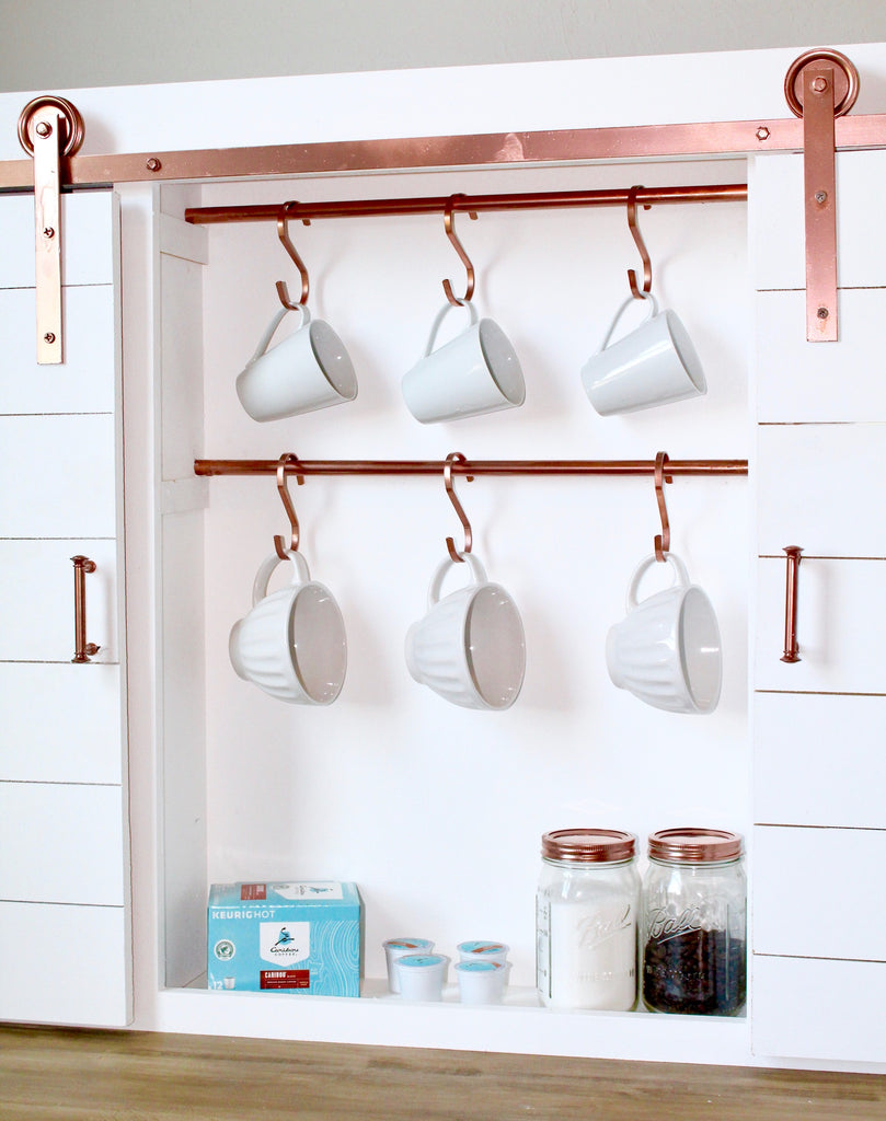 DIY Barn Door Coffee Bar Center