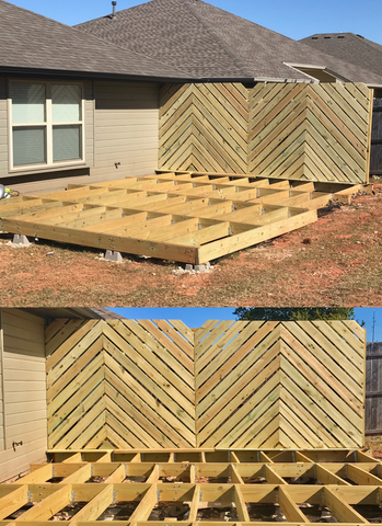 Diy Floating Deck Phase 2 Chevron Privacy Wall