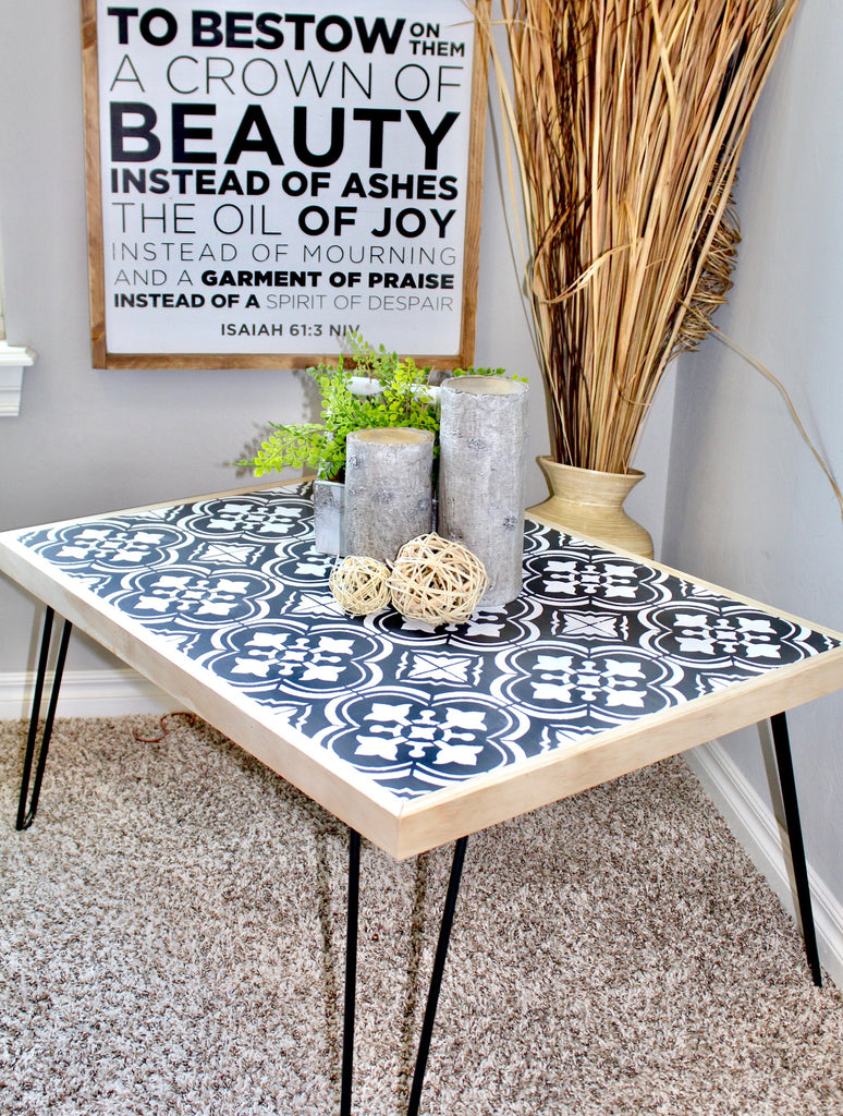 DIY Hairpin Coffee Table leg with a cutting edge tile stencil design using chalked paint