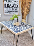 Tile Stenciled Hairpin Coffee Table