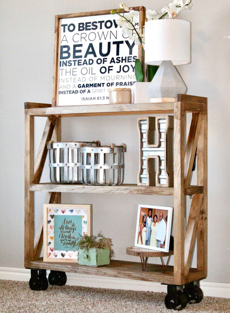 DIY Industrial Console Cart on Caster Wheels perfect for the home entryway. Free Woodworking plans and step by step how to