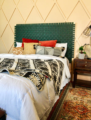 DIY Leather Woven Headboard