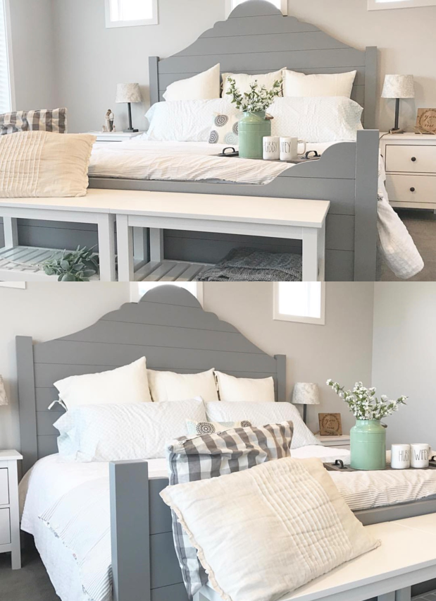 a DIY Farmhouse Shiplap bed frame for the home bedroom