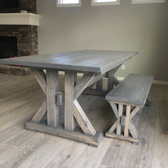 French Farmhouse Dining Table for the kitchen & Farmhouse X Office Desk - Handmade Haven