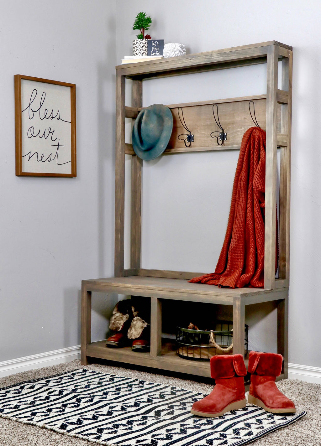 Entryway Hall Tree Bench DIY