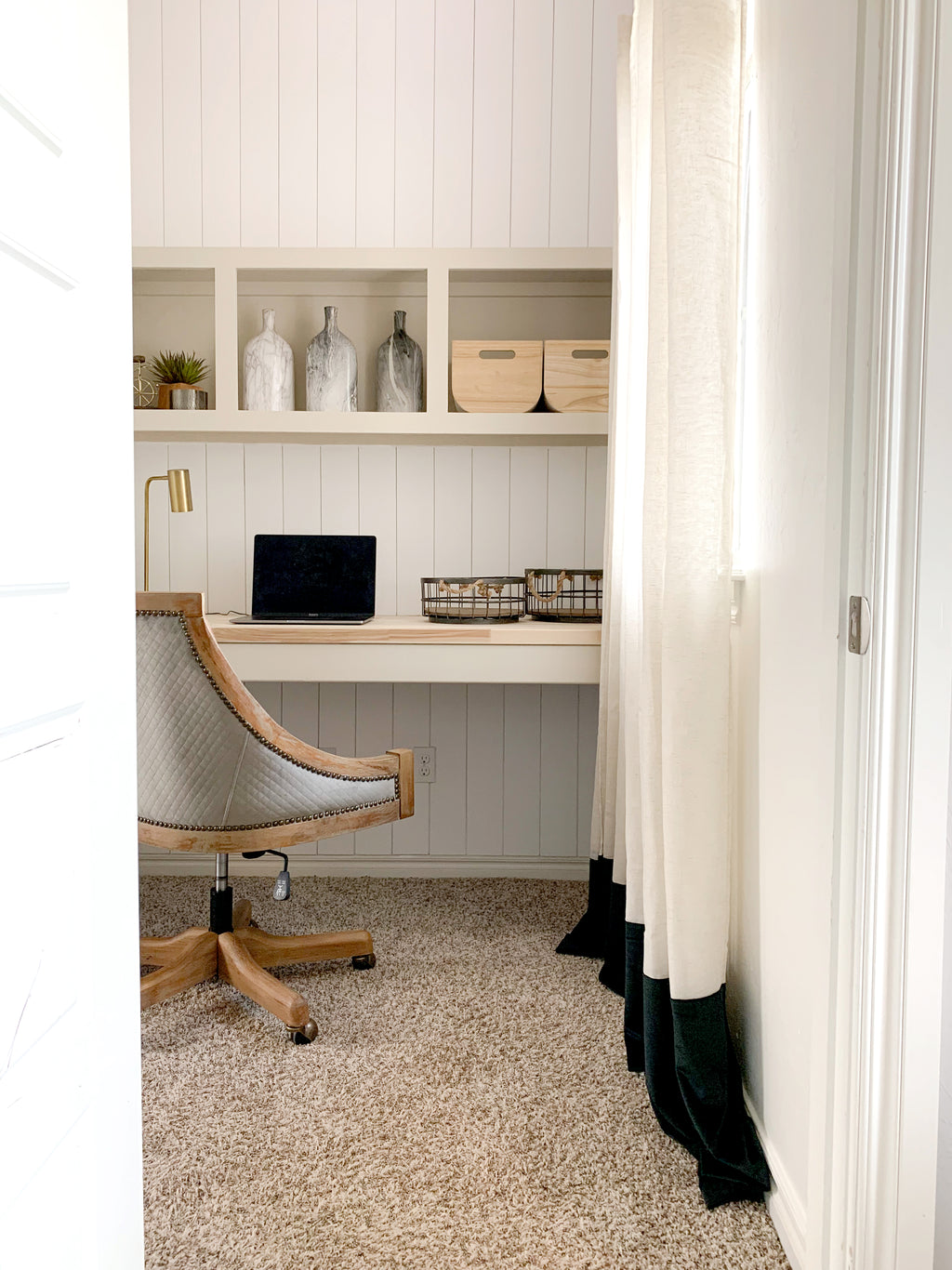 DIY Home Office Nook featuring Butcher Block desk and built ins