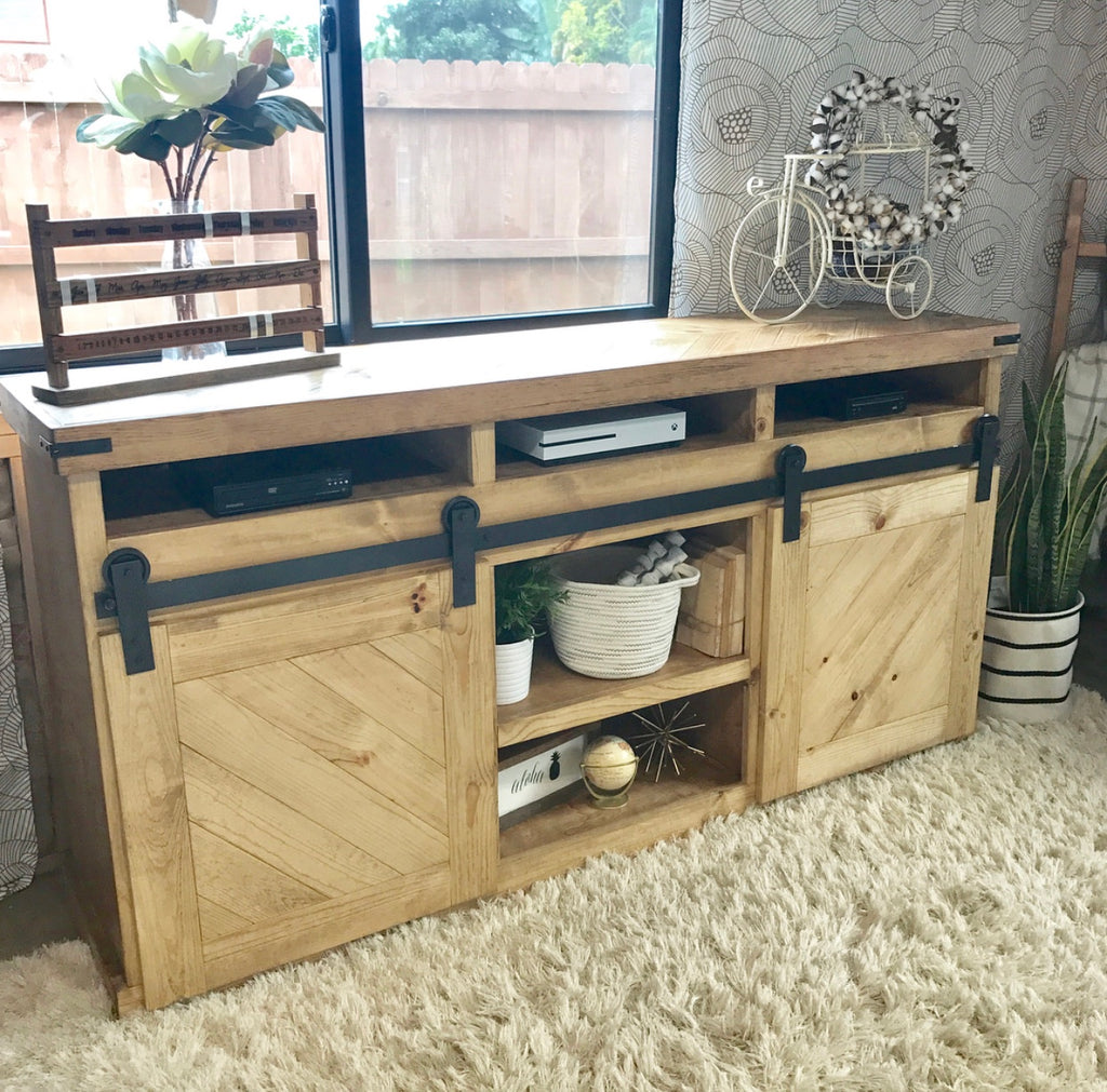 DIY Barn Door TV Console with a Chevron Pattern