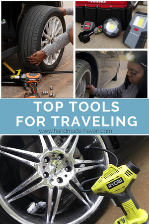 Top Tools for Traveling - featuring the Ryobi inflator, ridgid impact wrench, husky clip light, husky headlight