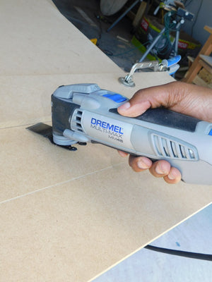 Dremel Tool to create shiplap feature boards for staging