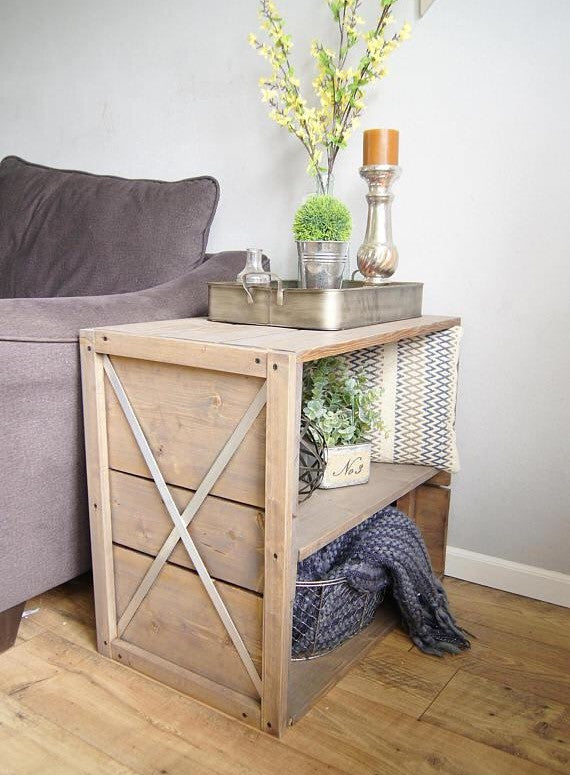 Farmhouse Crate End Table Handmade Haven