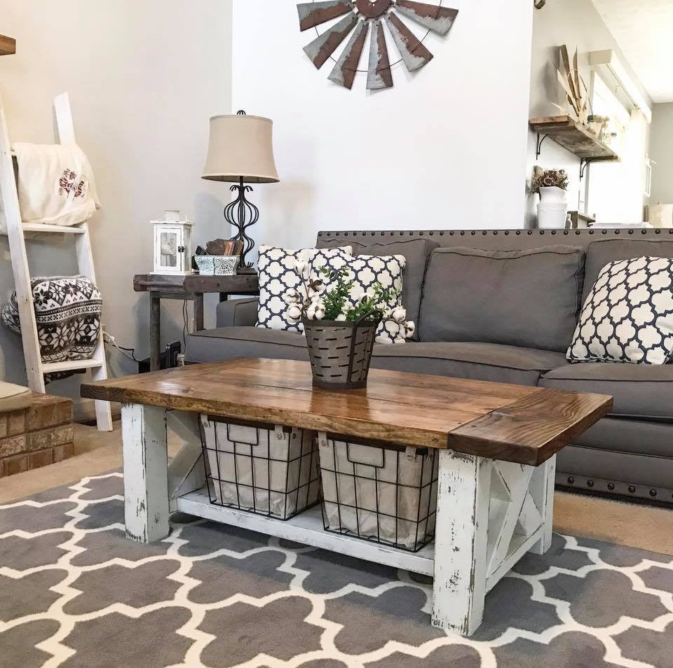 farmhouse style coffee table DIY Chunky Farmhouse Coffee Table   DIY Woodworking Plans  farmhouse style coffee table