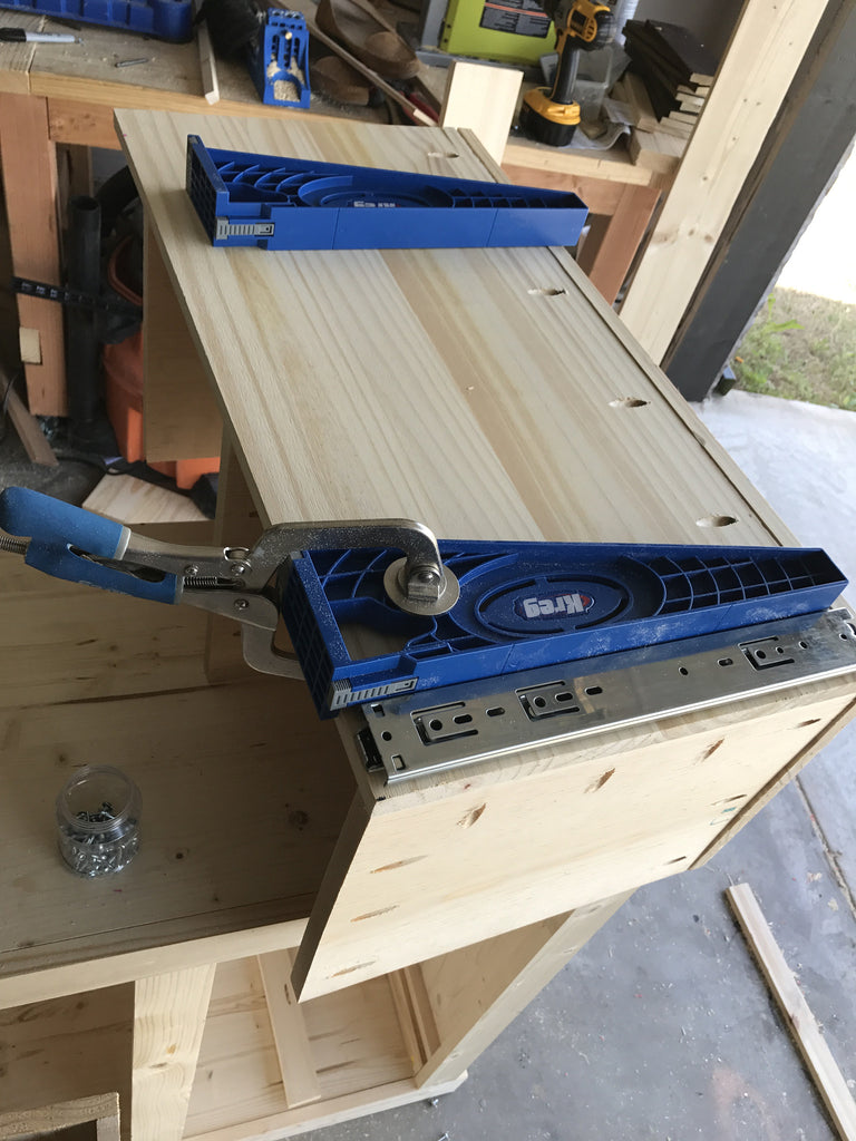 Hidden Shoe cabinet being made using the Kreg Drawer Jig