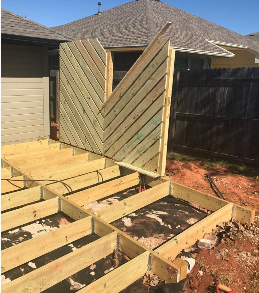 DIY Floating Deck Phase 2: Chevron Privacy Wall