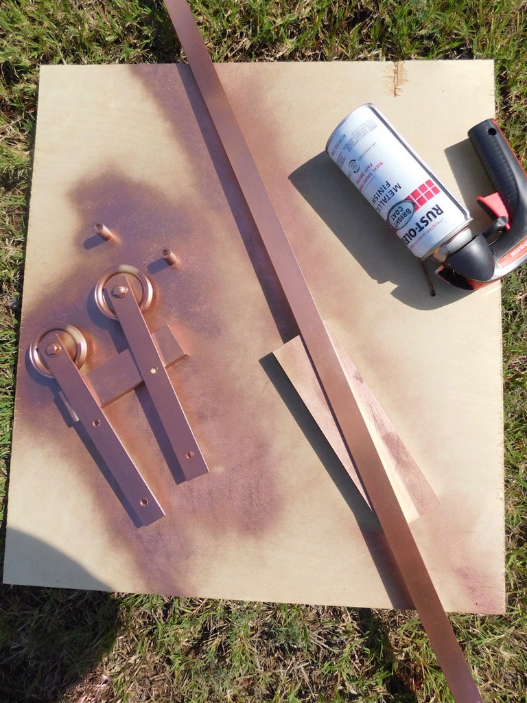 Copper Sliding Barn Door Hardware painted with Rustoleum Metallic Finish