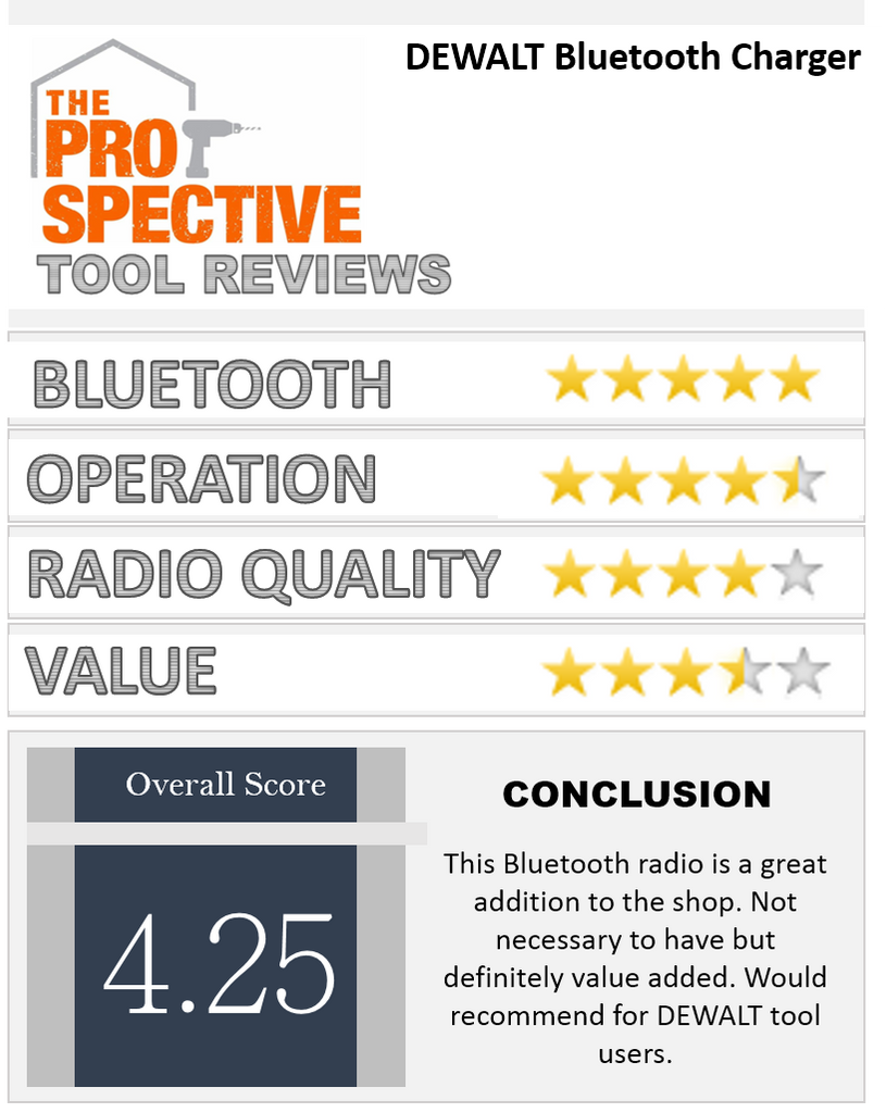 Dewalt Bluetooth Charger Tool Ratings