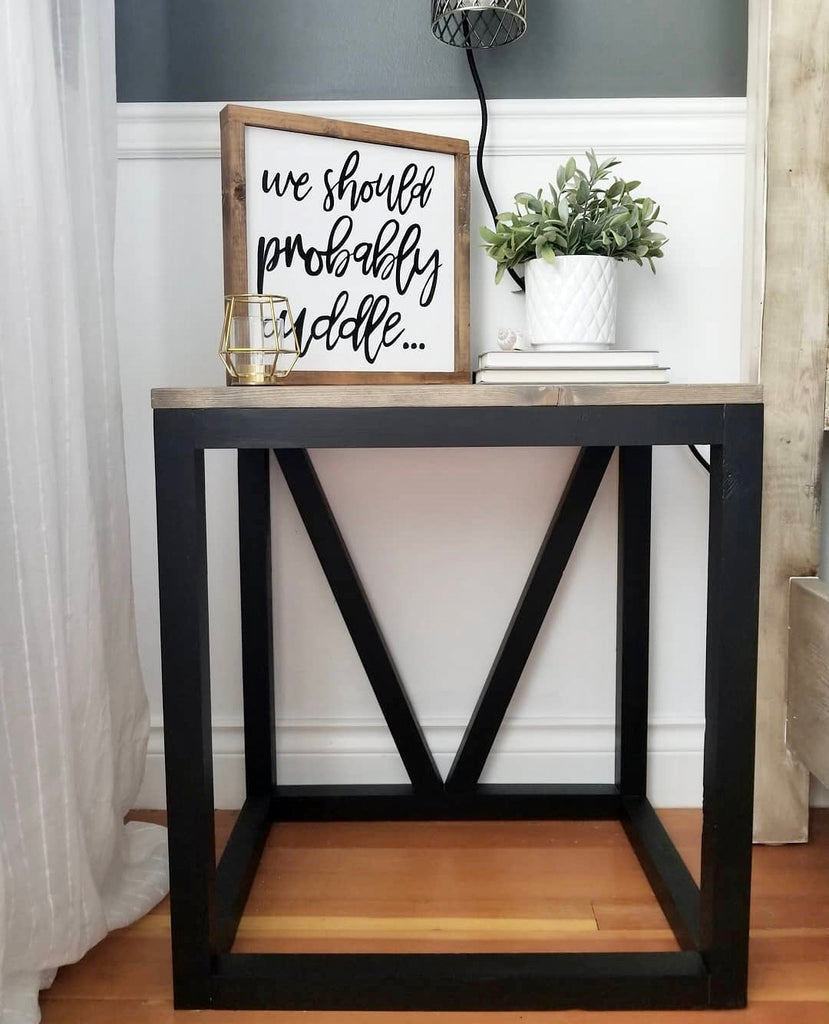 DIY V Side Table