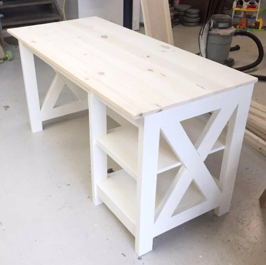 DIY Farmhouse X Desk for the Home Office