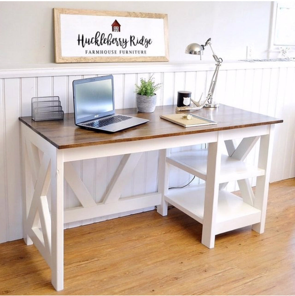 Home office desk wood Solid Wood Diy Farmhouse Desk For The Home Office office Handmade Haven Farmhouse Office Desk Handmade Haven