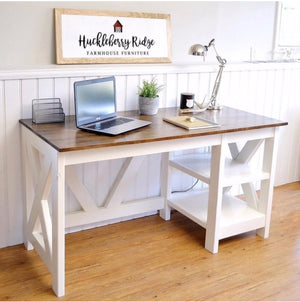 DIY Farmhouse X Desk - Free Woodworking plans