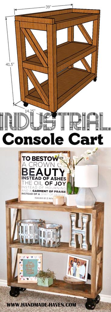 DIY Industrial Cart Console for the Home entryway featuring caster wheels