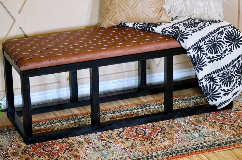DIY Woven Leather Bench