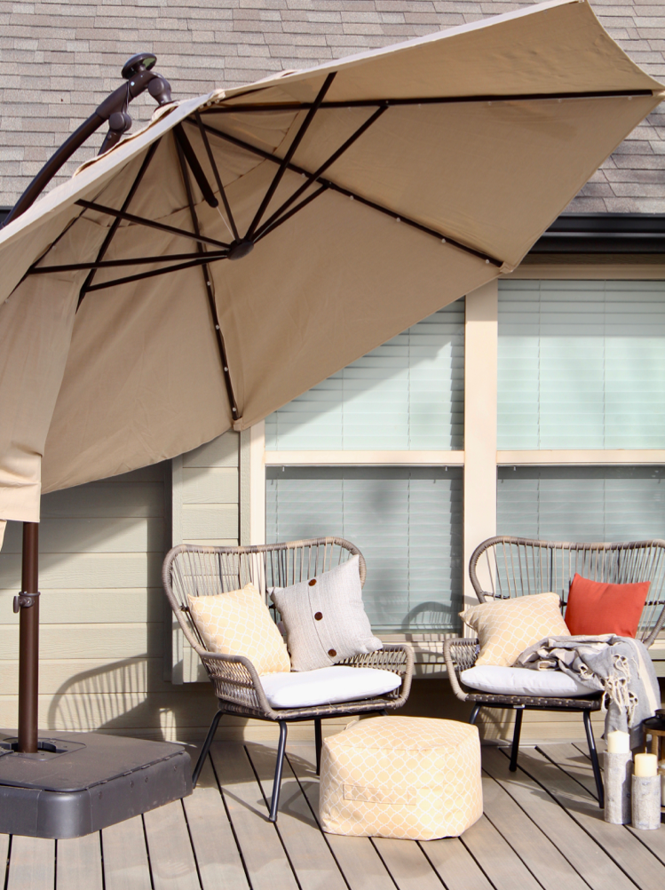 Patio Deck Mackeover featuring Hampton Bay patio Umbrella