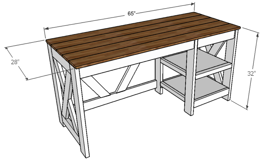 farmhouse x office desk free plans handmade haven Pipe Schematic Desk