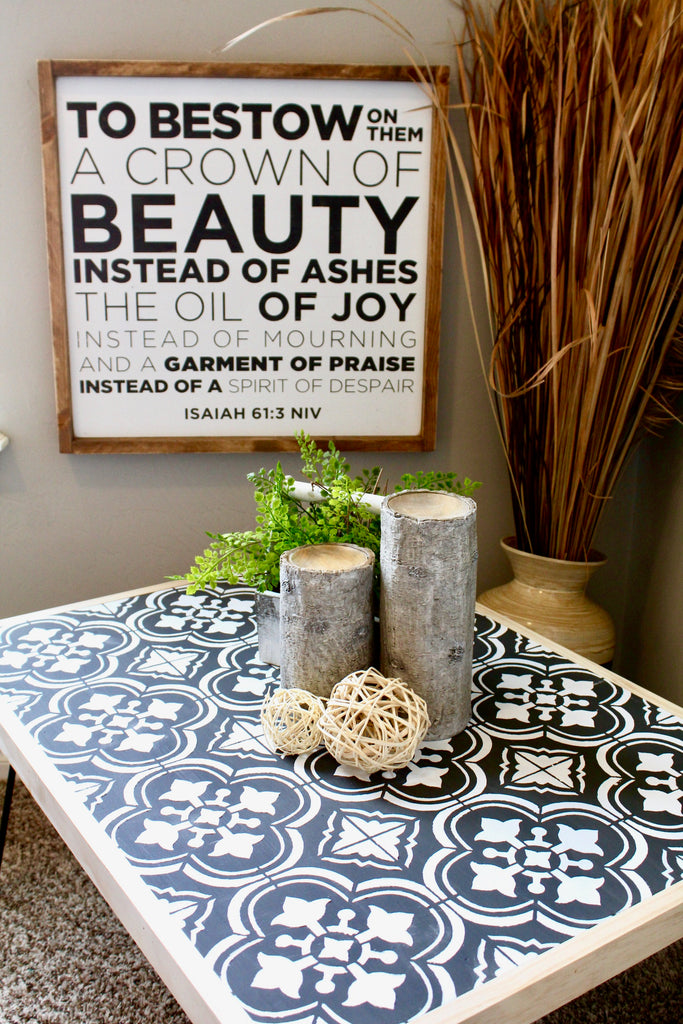 DIY hairpin coffee table with the cutting edge stencil santa ana tile design stencil perfect for a modern home living room