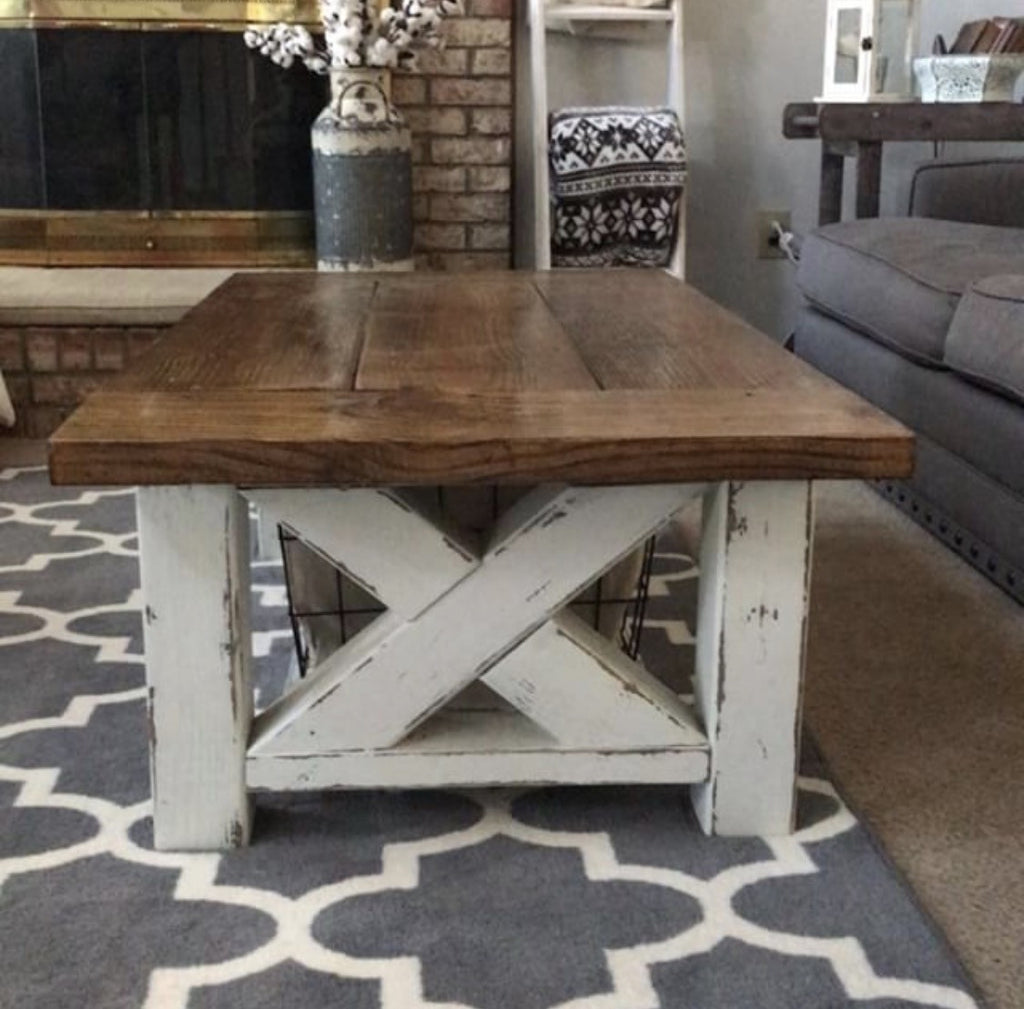 Diy chunky farmhouse coffee table diy woodworking plans Homemade coffee table plans