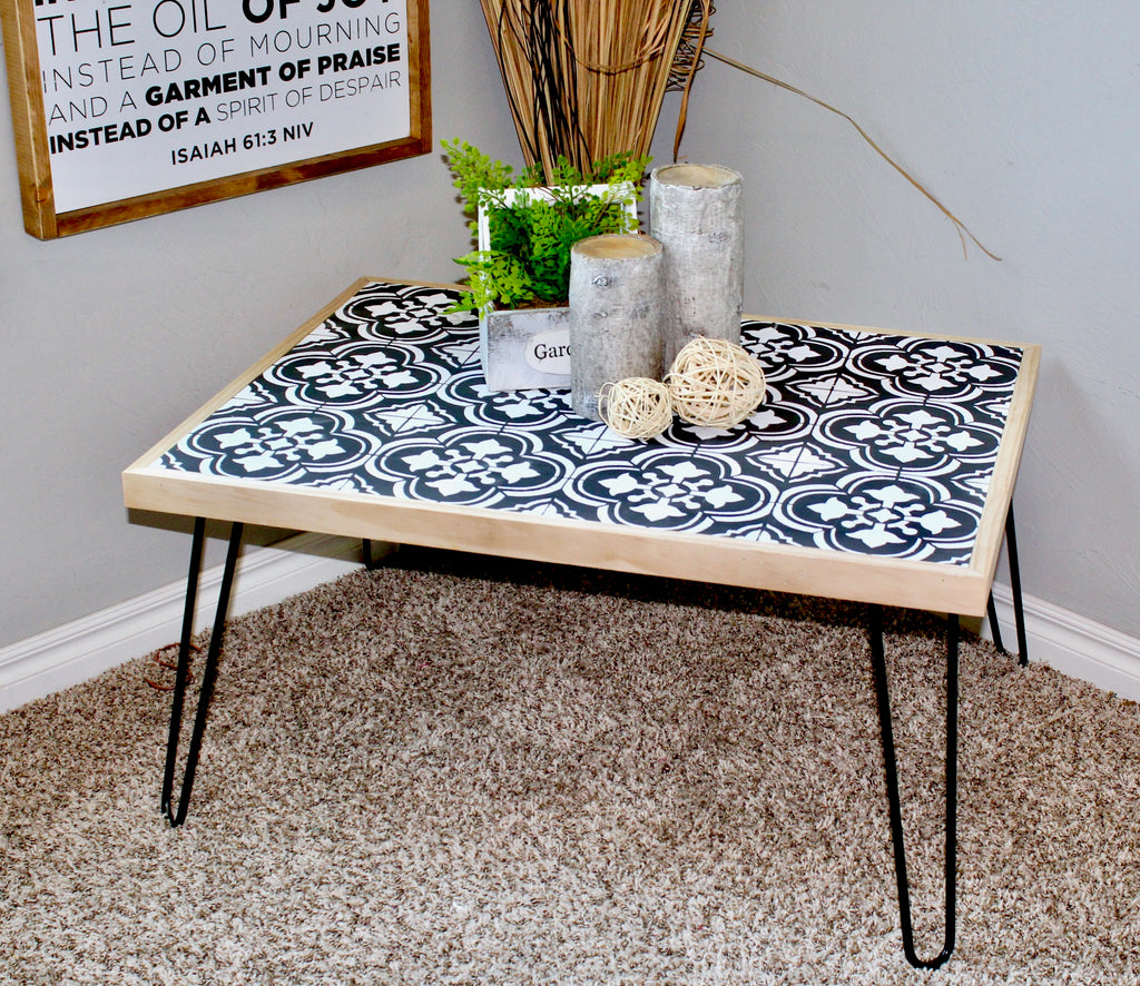 DIY Hairpin coffee Table with a tile stenciled design using chalk paint