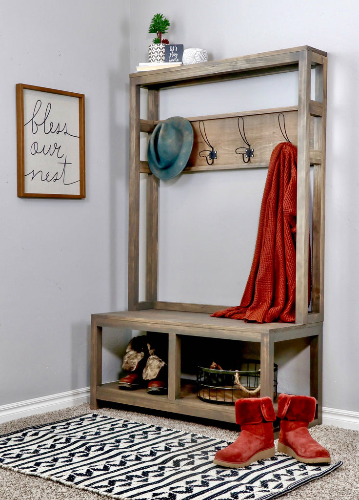 DIY Entryway Hall Tree Bench