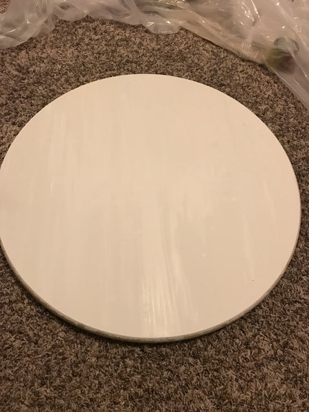 Wooden round painted white