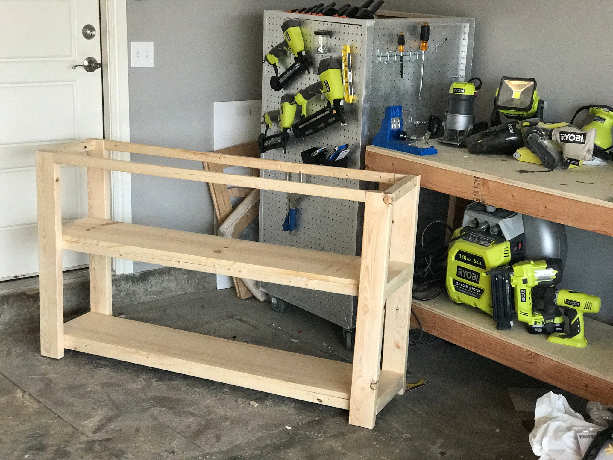X Console table in a large with tools