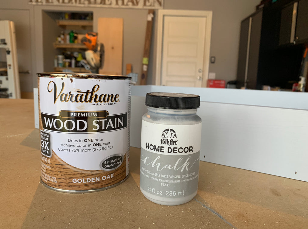Varathane Wood Stain- Golden Oak and Folk Art Chalk Paint Parisian Grey