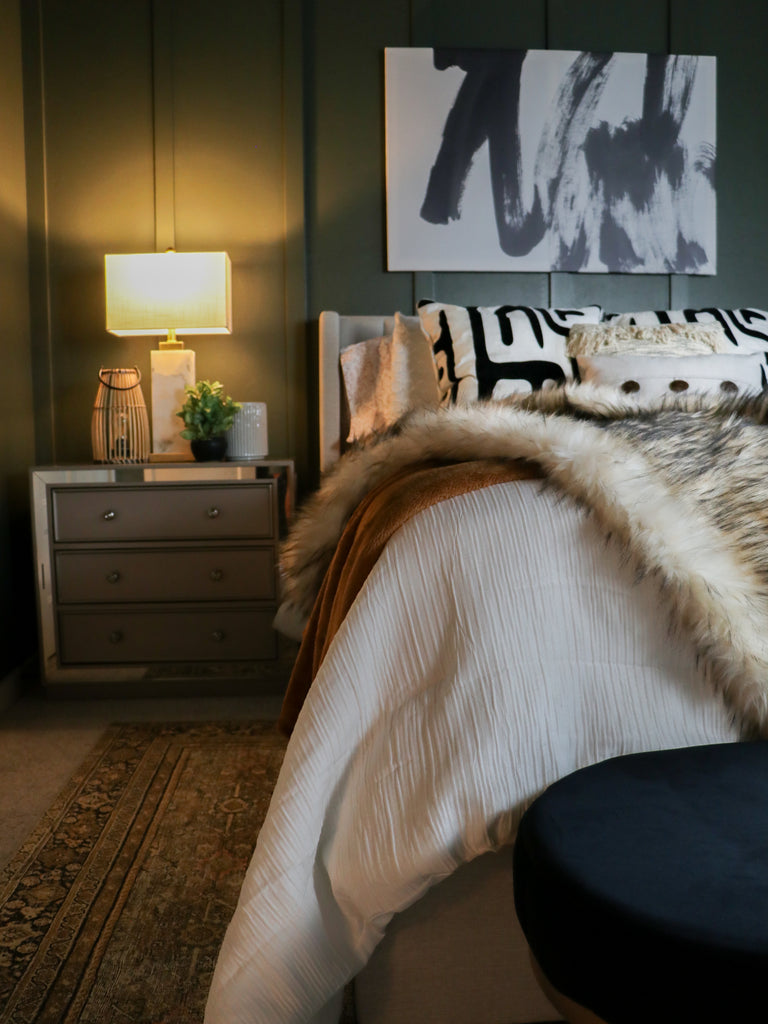 Guest bedroom makeover with black bamboo