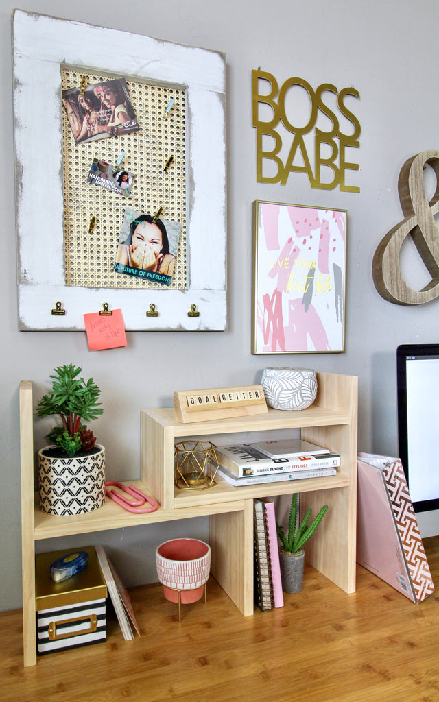 Office Shelf Organizer and Message Board