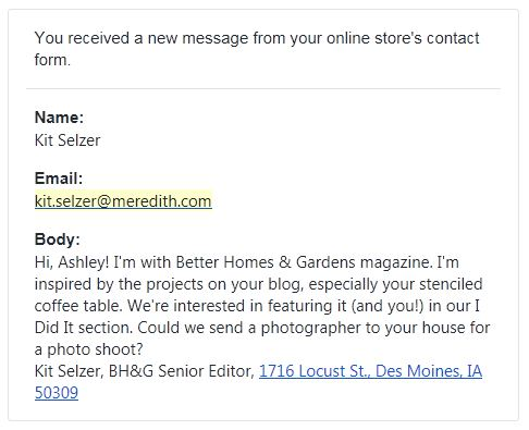 Better Homes and Gardens Email Kit Selzer Editor