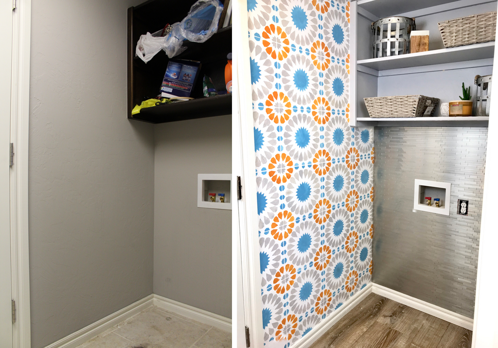 Laundry Room Makeover - Wall Stencil