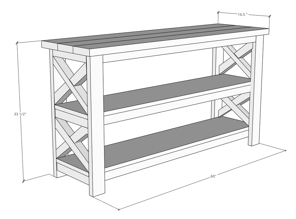 Rustic V Console Table Plans