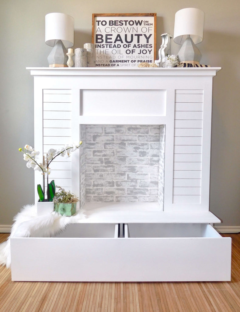 Shiplap Faux Fireplace with Limewash and Chalk Paint