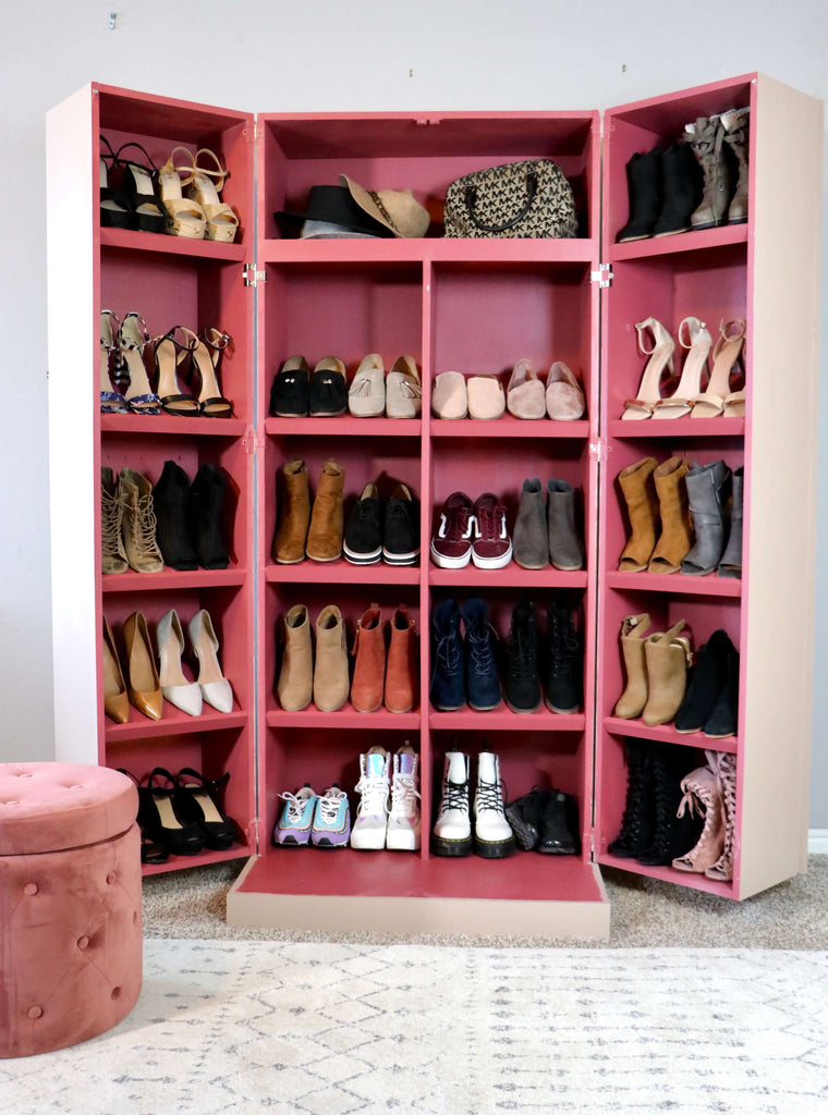 DIY Shoe Cabinet with folding doors