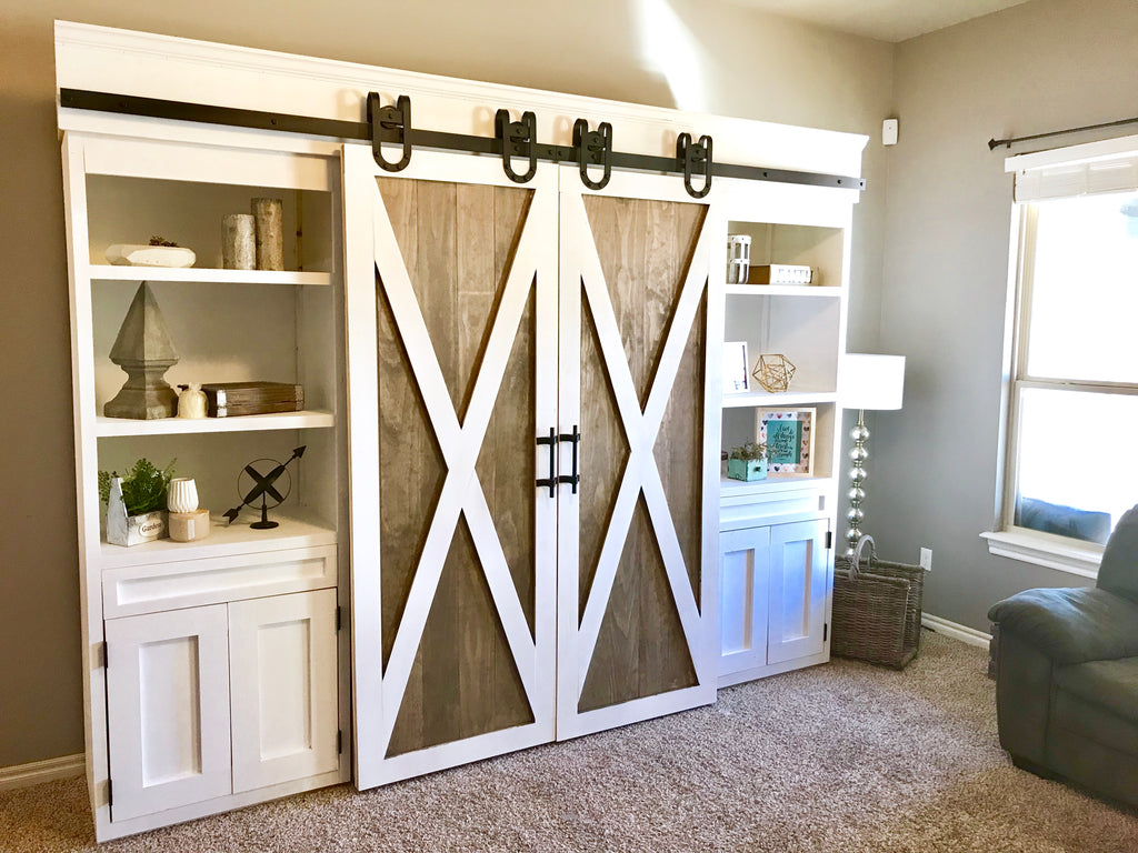 Sliding Barn Door Media Center featuring Artisan Hardware with Two-tone barn doors using rustoleum briarsmoke and behr paint