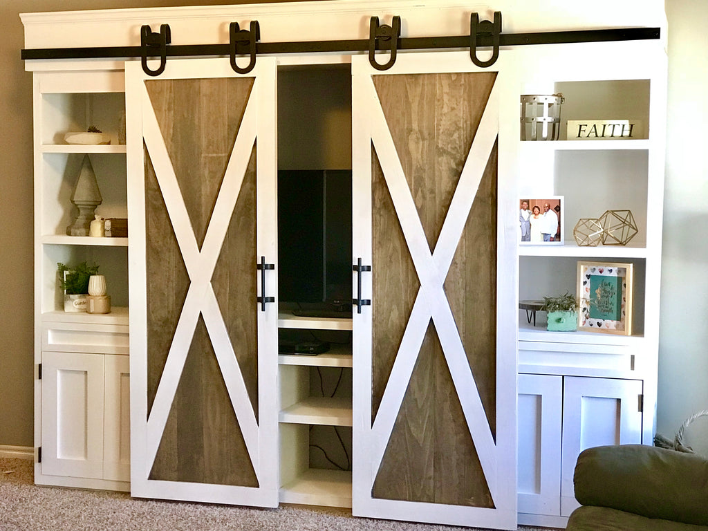 Sliding Barn Door Media Center For The Home Living Room Featuring Artisan Horseshoe  Barn Door Hardware