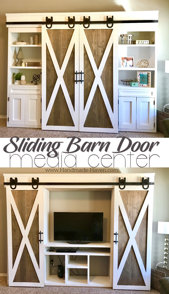 Sliding Barn Door Media Center featuring horseshoe barn door hardware and two-wone barn doors coated in Rustoleum Briarsmoke and Behr white paint
