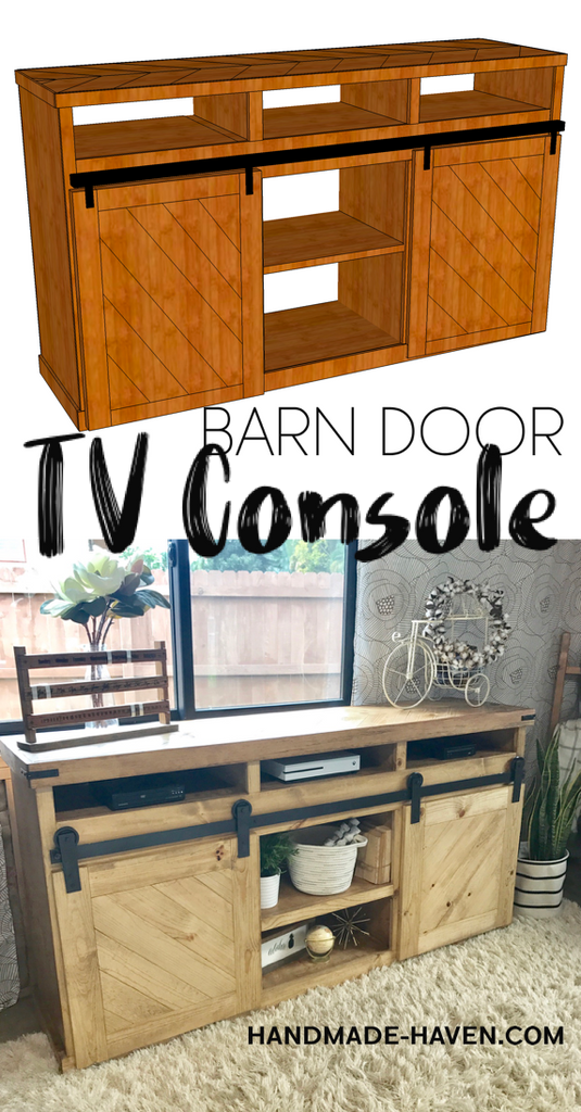 DIY Sliding Barn Door TV Console for the home living room - Free Woodworking Plans