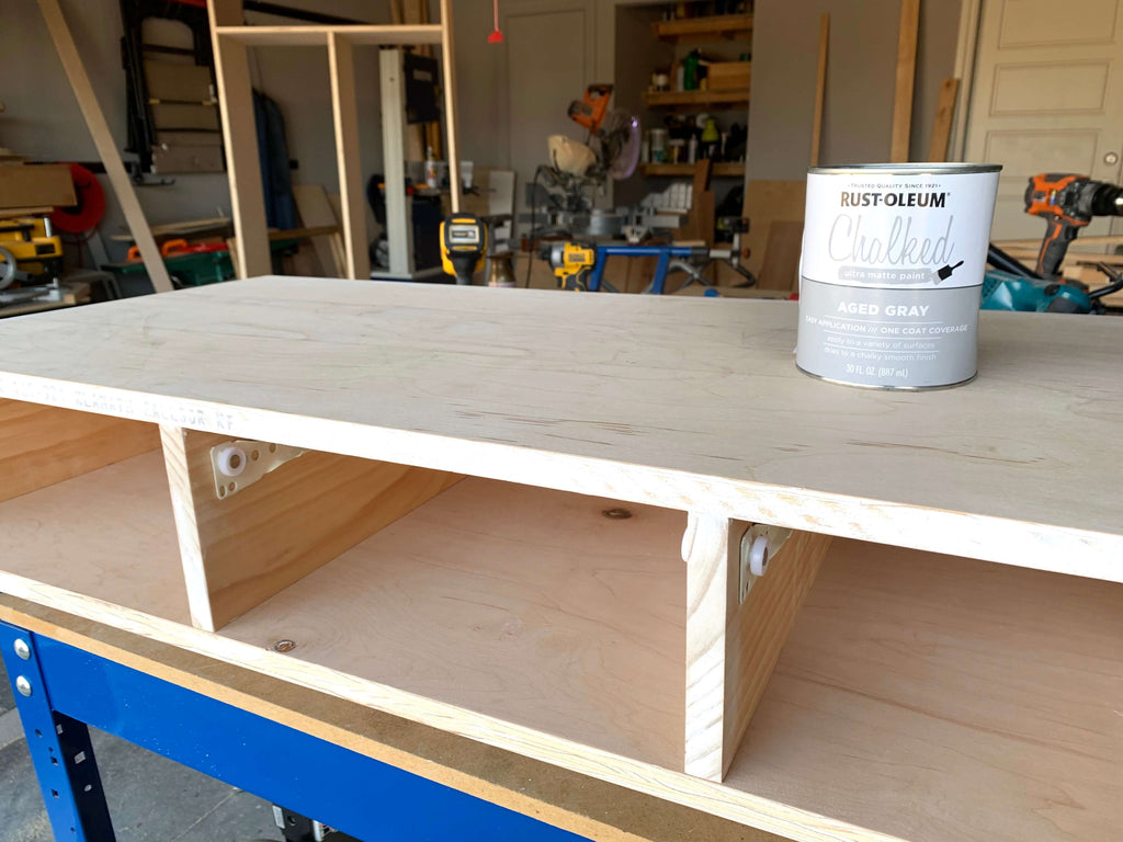 DIY Vanity Desk with Rustoleum Chalk Paint sitting on top